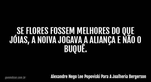 Alexandre Nego Lee Popoviski Para A Joalheria Bergerson Se